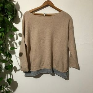Joie Tan Gray 100% Cashmere Boat Neck Sweater S